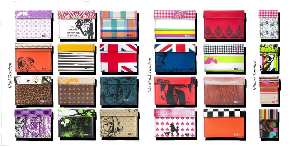 Auswahl an Taschen für iPhone MacBook und iPad von Kleber Taschen