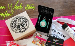 Gewinnt Fashion Week Goodies und Accessoires u.a. Uhr von Candy & Grace in mit, Statementkette von Review, Shirt, Schmuck von stella& dot etc.