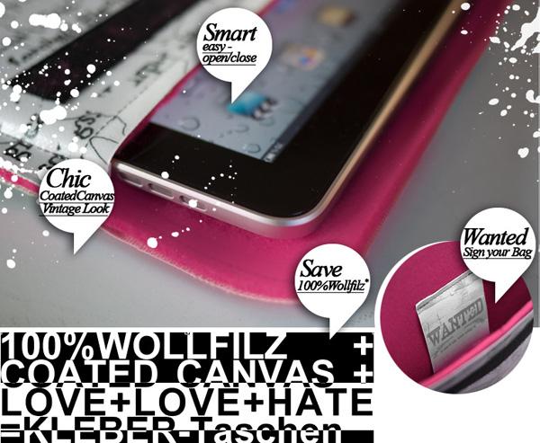 KLeber Taschen bunte Hüllen für iPad, iPhone und MacBook