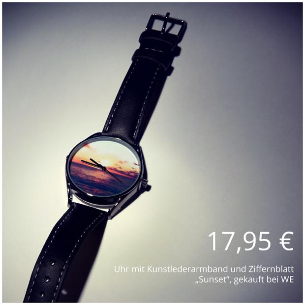 Uhr mit Kunstlederarmband und Sunset Hintergrund vom WE Store